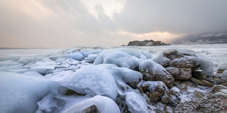 Frozen Lake Baikal near Olkhon Island, Russia Stock Photo