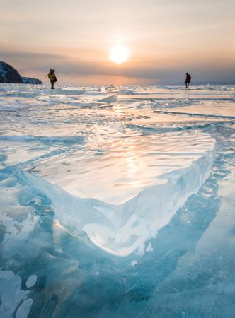 baical: Frozen ice Baikal Lake in winter, Russia Stock Photo