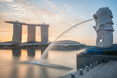 Singapore Cityscape, Merlion Stock Photo