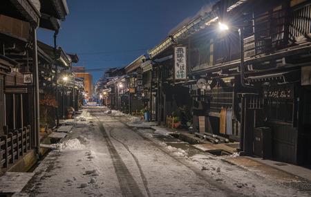 Takayama, Japan - January 23, 2018 : Takayama old town in takayama, Japan