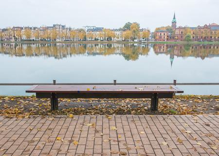Wooden bench at Schwerin city