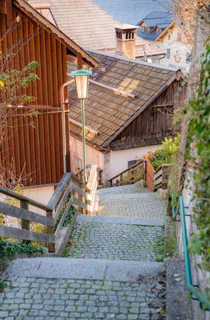 Old staircase on Hallstatt village, Hallstatt, Austria Banco de Imagens