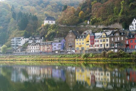 Cochem in autumn with Moselle river, Cochem, Germany Stock Photo