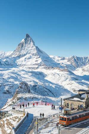 Switzerland Alps Matterhorn Snow Mountains at Gornergrat bahn train station, Zermatt, Switzerland