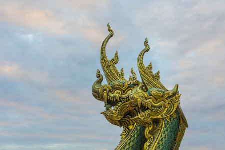Naga head statue (King Serpent), which is one of the most holy animal of Thai culture. Nomally, this kind of statue is located at all Buddha temples in Thailand.