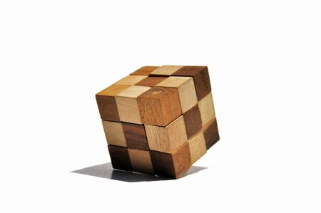 cubic: cubic wood on white background Stock Photo