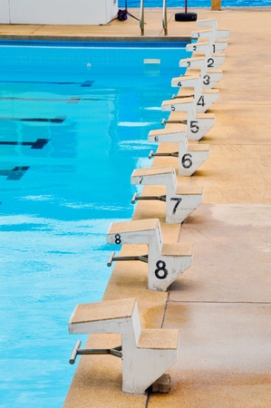 start position: Start position with numbers in swimming pool Stock Photo