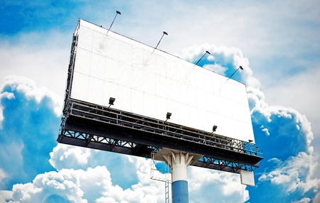 Blank big billboard with beautiful blue sky