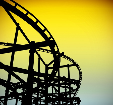roller coaster: Roller coaster track silhouette at the big park