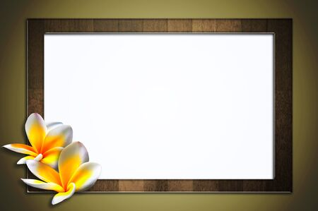 plumeria on a white background: The old wooden frame and two Frangipani