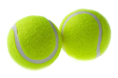 two tennis ball isolates on the white background.