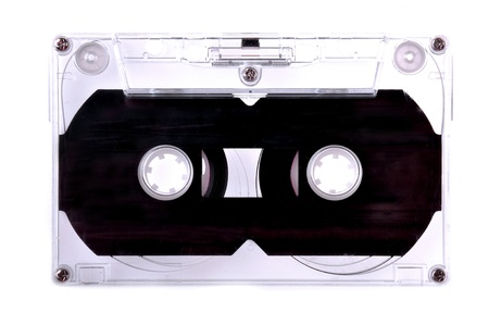 Close up a cassette tape isolated on the white background. photo