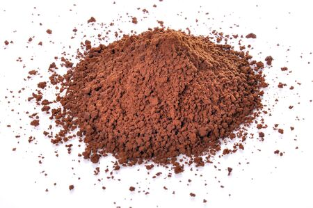 The cocoa Powder with isolated on white background.