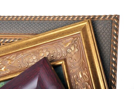 solated: Three picture frames are overlap with solated on white background.