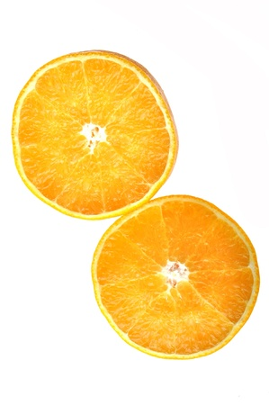 Two pieces orange isolated on the white background. Stock Photo - 9352397