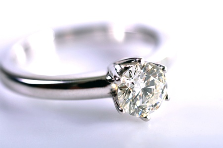 Close up a diamond ring isolated on the white background.