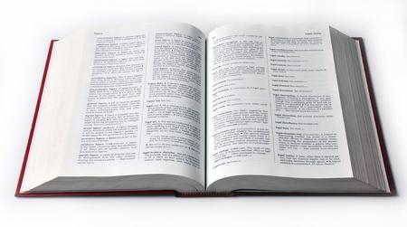 Open woordenboekboek dat op witte achtergrond wordt geïsoleerd. Stockfoto