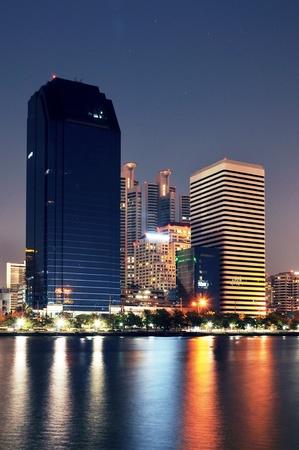 technoligy: City skyline at night. Bangkok Thailand.