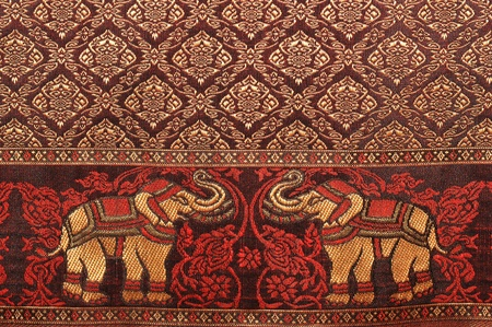 Elephant pattern background and thai painting pattern of thai silk. Stock Photo