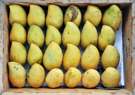Top view of many mangoes in wooden box.