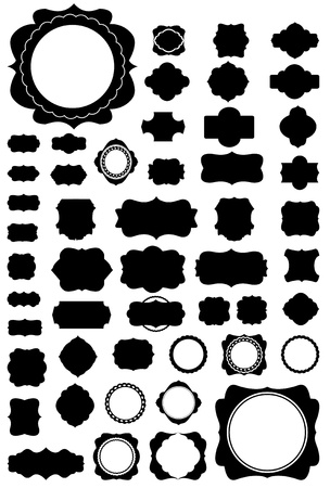 Silhouette Vector set of 50 frames and vintage style.