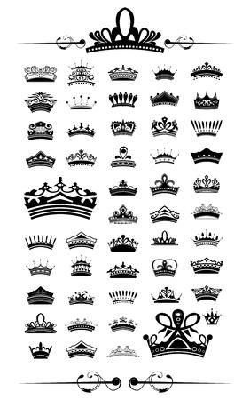 silhouettes Vector set of 50 crown - EPS 10 Vector. Ilustração