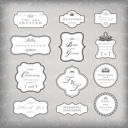 Set of vector vintage frames , EPS 10 Vector.
