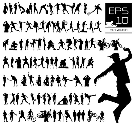 group fitness: Vector set of 100 very detailed men silhouettes