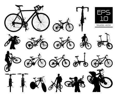 bicyclette: jeu vecteur silhouette v�lo, EPS 10 vecteur Illustration
