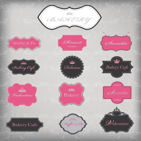 Vector set of 13 vintage frames, EPS 10 vector. Illustration