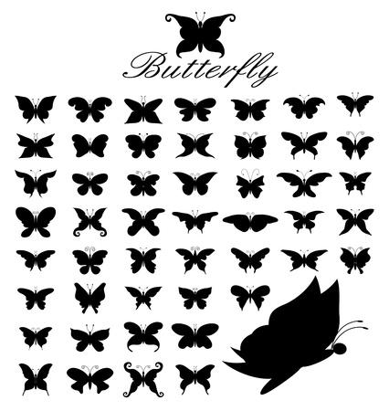 butterfly tattoo: Vector silueta de un conjunto de 50 mariposas.