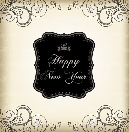medallion: Vintage frame (happy new year) Illustration