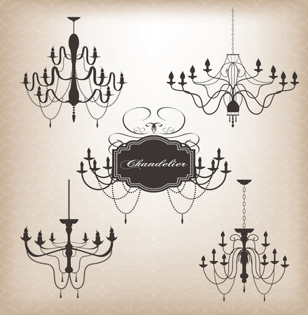 Set of different chandelier silhouettes. Vector