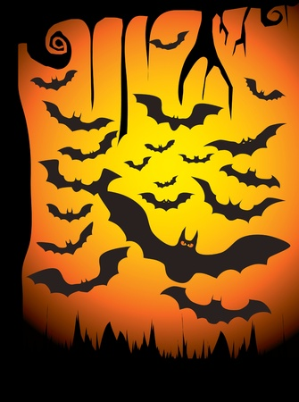 creeps: Silhouette Vector set of 20 bat. Vector illustration.