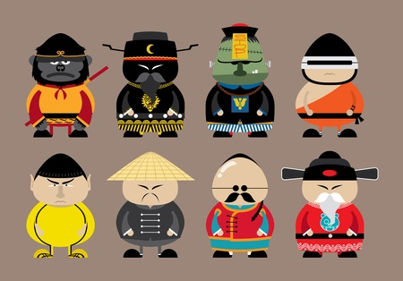 set of chinese cartoon Vector