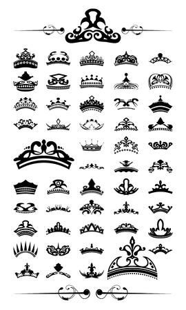 corona de rey: juego de 50 siluetas de la corona