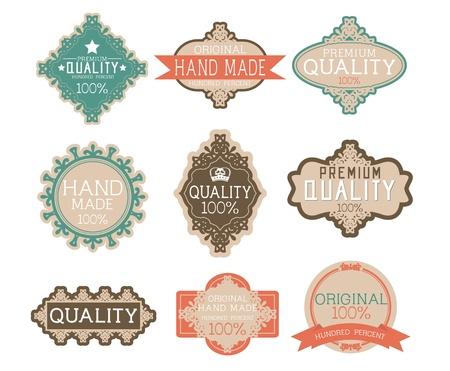 Vintage label Style with Nine Design Element , collection 13 Vector