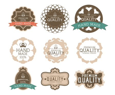 Vintage label Style with Nine Design Element , collection 14 Vector