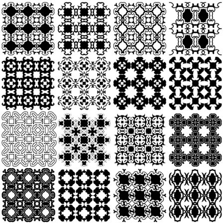 vintage weaving: Set of black and white seamless patterns  backgrounds collection