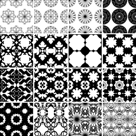 Set of black and white seamless patterns backgrounds collection  Vector
