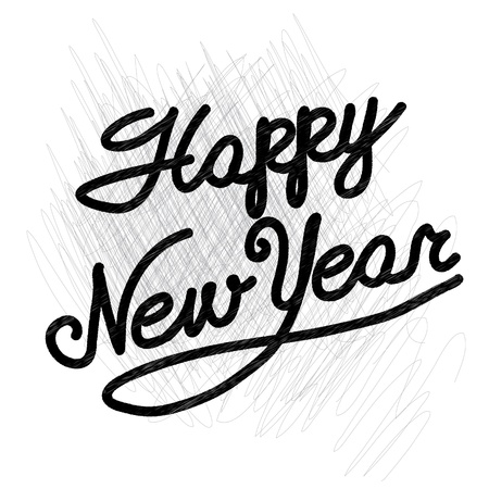 happy new year  handmade calligraphy, vector EPS10