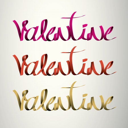 valentine  handmade calligraphy, ribbon vector EPS10 Stock Vector - 19138527