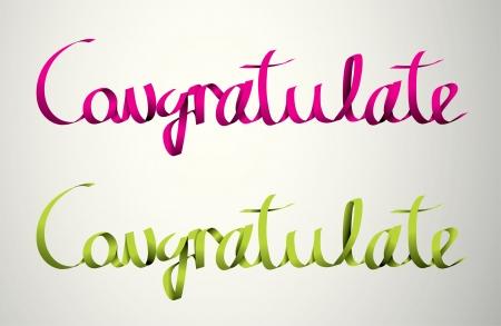 congratulate handmade calligraphy, ribbon vector EPS10 Stock Vector - 19138525