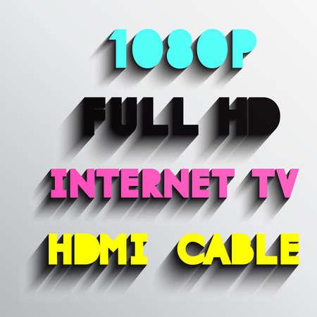 typo: Set of internet tv typo vector, Eps 10
