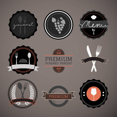 Restaurant labels set vector, Eps 10 Vector
