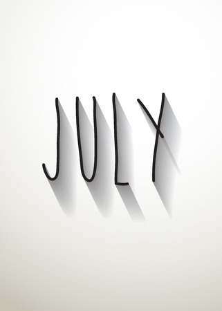 typo: july typo with shadow vector Illustration
