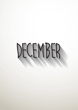 typo: december typo with shadow vector