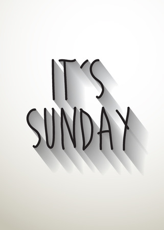 sunday: its sunday typo with shadow vector