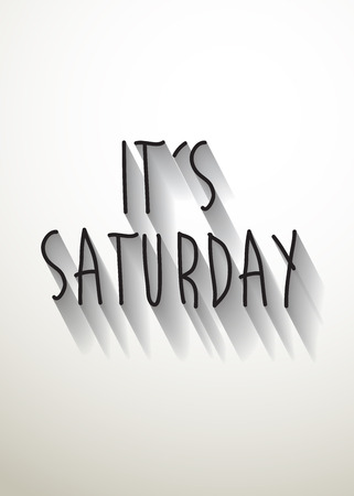 sat: its saturday typo with shadow vector