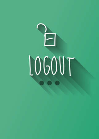 typo: logout typo with shadow vector